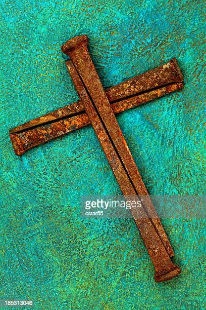 Religious: Cross of old Rusty square Nails