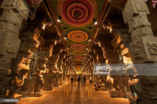 religious hall of thousands of columns, madurai, india. - carving craft product stock pictures, royalty-free photos & images