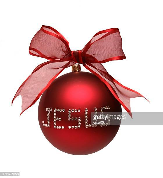 Religious: Jesus spelled on Red Christmas Ornament Isolated