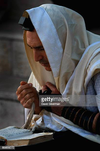 A religious Jew recites his morning prayers wrapped in his prayer shawl and wearing phylacteries during the Birkat Hachama ritual on April 8 2009 in...