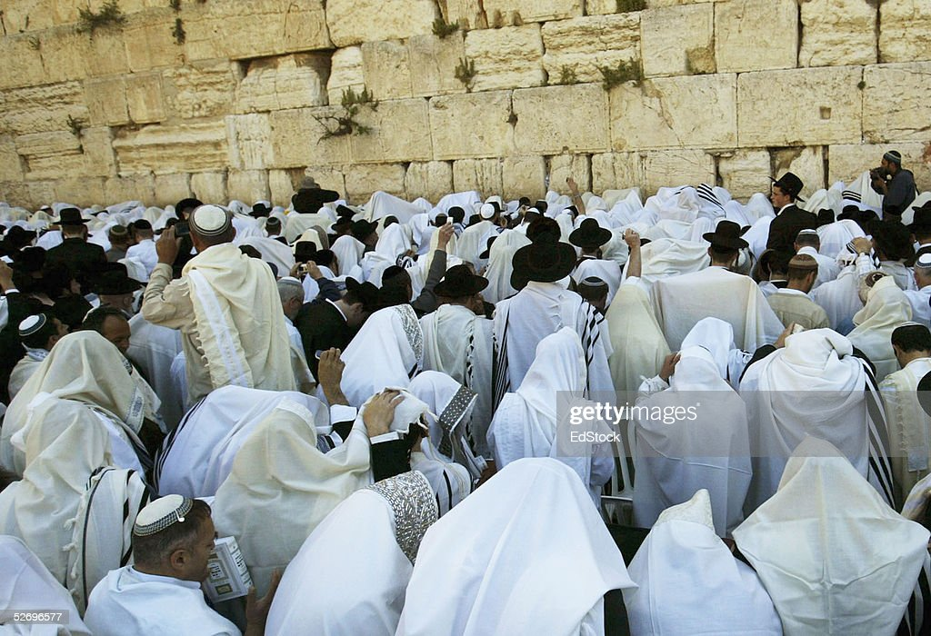 Religious Jews Celebrate Passover At Jerusalem's Western Wall : Stock Photo