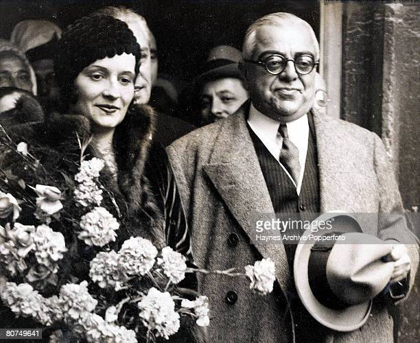 Religious leader Aga Khan with young French lady Andree Carron in 1929