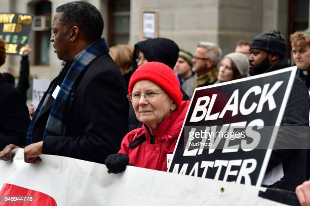 Religious leaders and clergymen with Philadelphians Organized to Witness Empower and Rebuild hold a Police Accountability rally followed by a protest...