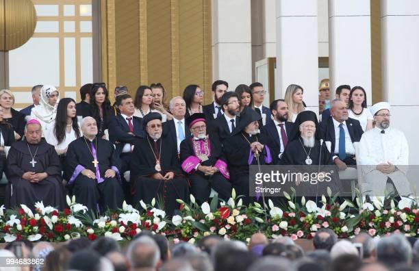 Religious leaders as former head of Turkey's Religious Affairs Directorate Mehmet Gormez Greek Orthodox Ecumenical Patriarch Bartholomew I General...