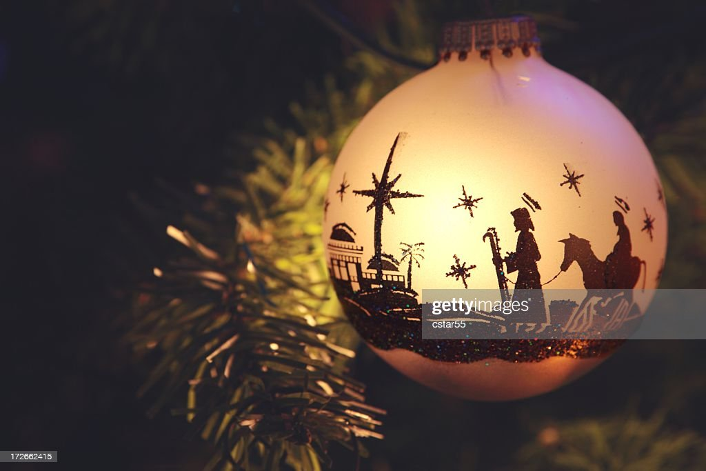 Religious: Nativity Scene silhouette on Christmas Ornament : Stock Photo