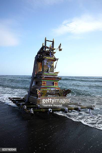 Religious offering on a raft in Amed, Bali