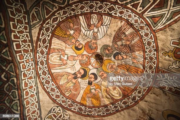 religious paintings in abuna yemata guh, tigray, ethiopia - tigray stock photos and pictures
