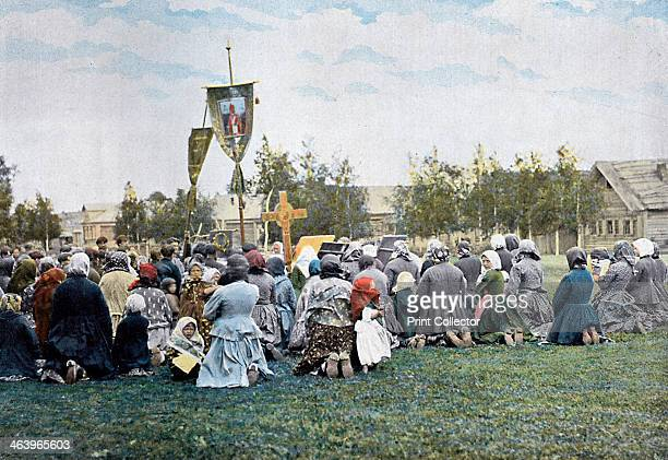 A religious procession in a village Russia c1890 Illustration from Russie Costumes et Coutumes by L Boulanger