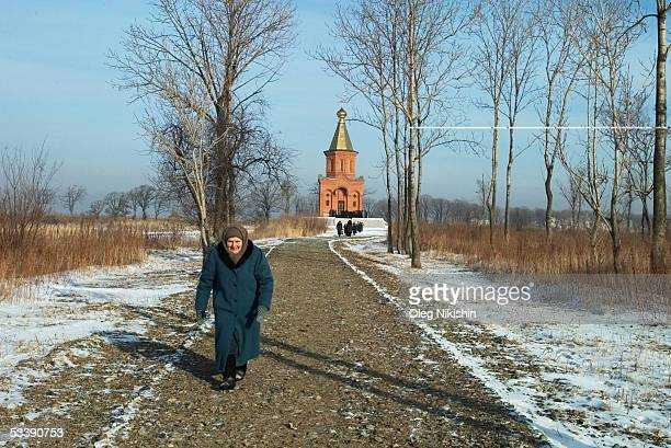 A religious procession walks from Khabarovsk to the Russian Orthodox Church on Big Ussury Island December 15 2004 in Khabarovsk Russia In November...