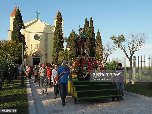 religious procession with saint rocco statue, venosa, basilicata, southern italy - federica rocco stock pictures, royalty-free photos & images