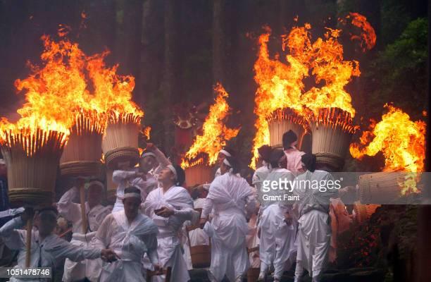 religious shinto annual ritual. - präfektur wakayama stock-fotos und bilder