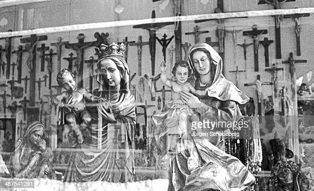 Religious souvenirs on sale during the Passion Play in Oberammergau Bavaria Germany 1984