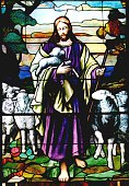 Religious: Stained Glass Jesus the Good Shepherd with 6 toes