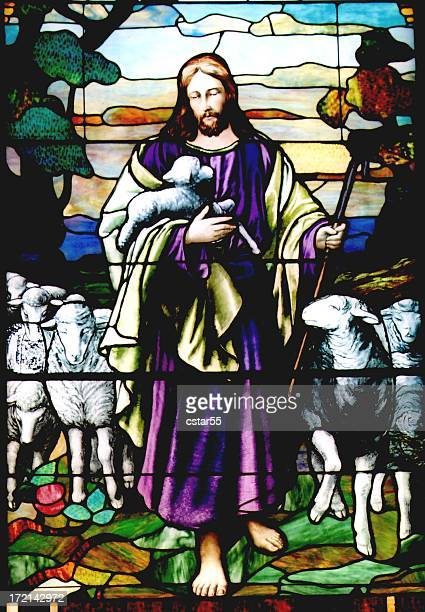 religious: stained glass jesus the good shepherd with 6 toes - jesus christ stock pictures, royalty-free photos & images