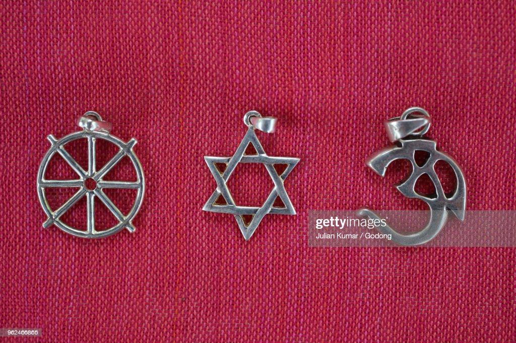 Religious Symbols Of Buddhism Judaism And Hinduism Stock Photo