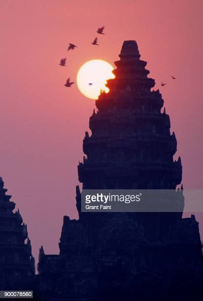 A religious temple at sunrise.