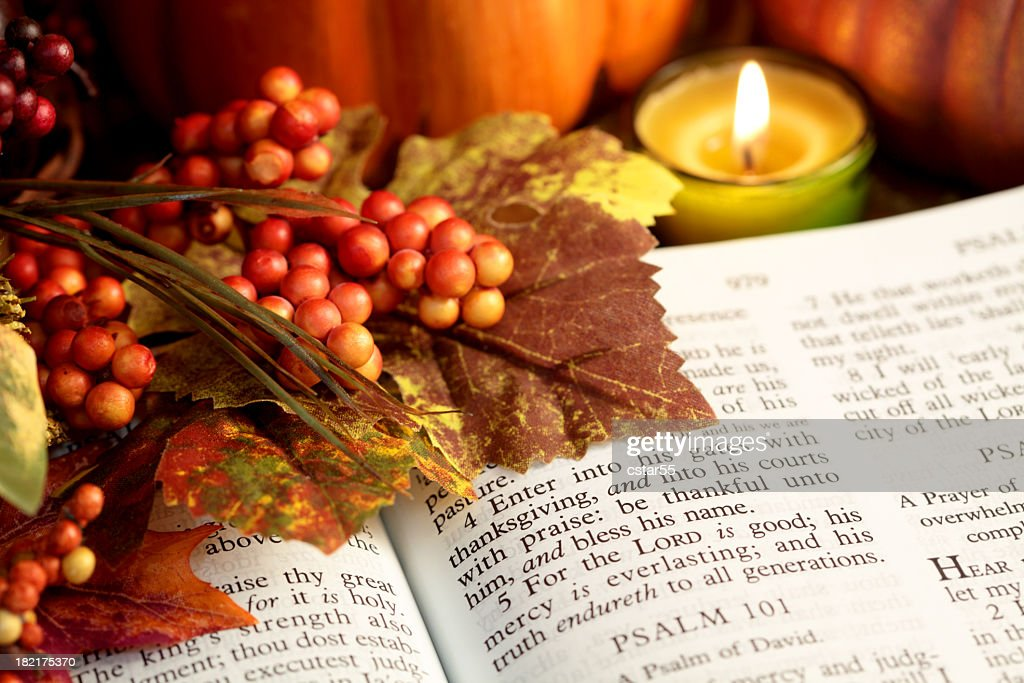 Religious Thanksgiving Bible Scripture With Fall Leaves ...