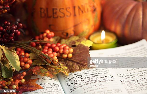 religious: thanksgiving bible scripture with pumpkin and berries - happy thanksgiving text stock pictures, royalty-free photos & images