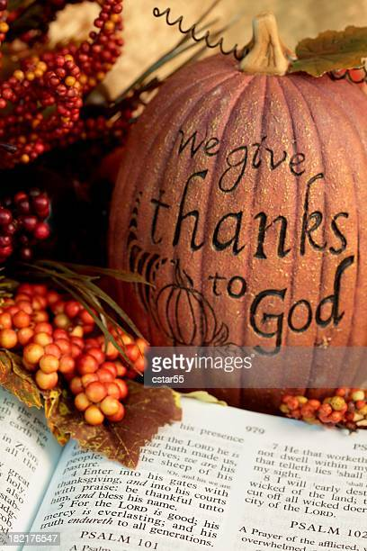 religious : thanksgiving scripture with bible and pumpkin - happy thanksgiving text stock pictures, royalty-free photos & images