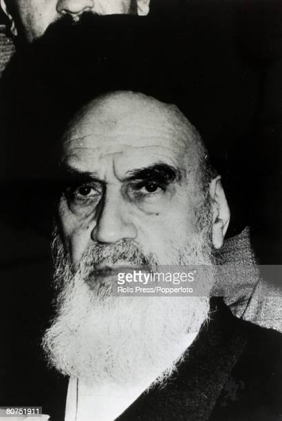 1979 Ayatollah Ruhollah Khomeini portrait Ayatollah Khomeini Iranian religous and political leader returned to Iran from exile and under his...