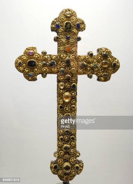 Reliquary cross Germany Cologne First half of the 13th cent Wood copper silver gilt gems The State Hermitage Museum Saint Petersburg Russia