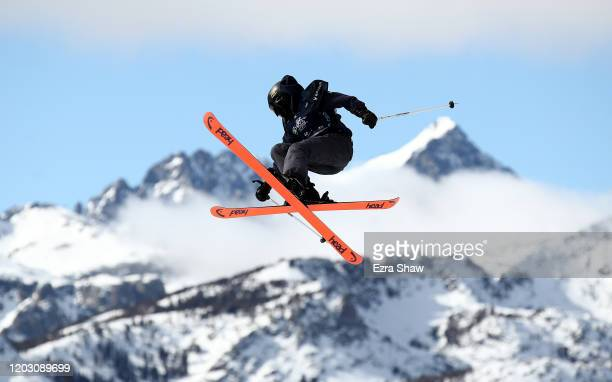 Rell Harwood of the United States goes over a jump during the Women's Freeski Slope Style Qualifications at the 2020 U.S. Grand Prix at Mammoth...