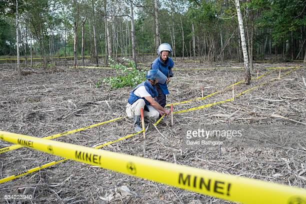 Relying on mine-detecting dogs, metal detectors and field expertise, a de-mining unit from the humanitarian aid organization, Norwegian People's Aid,...