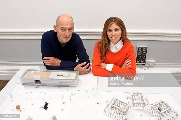 Rem Koolhaas and Dasha Zhukova attend a briefing to reveal the full details of a new home for the Garage Center in Moscow which is moving from its...