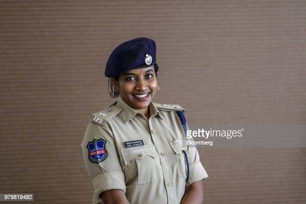 Rema Rajeshwari superintendent of police for the Indian Police Service poses for a photograph in the town of Gadwal Telangana India on Tuesday June...