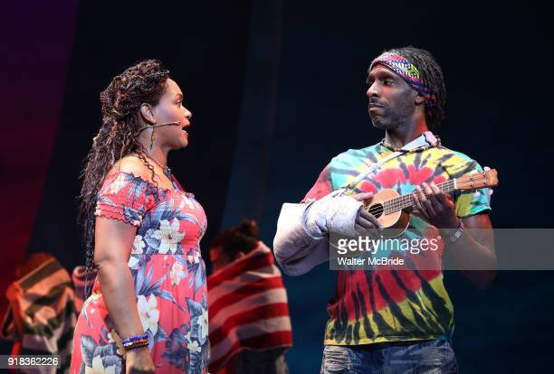 Rema Webb and Andre Ward during the Press Sneak Peak for the Jimmy Buffett Broadway Musical 'Escape to Margaritaville' on February 14 2018 at the...