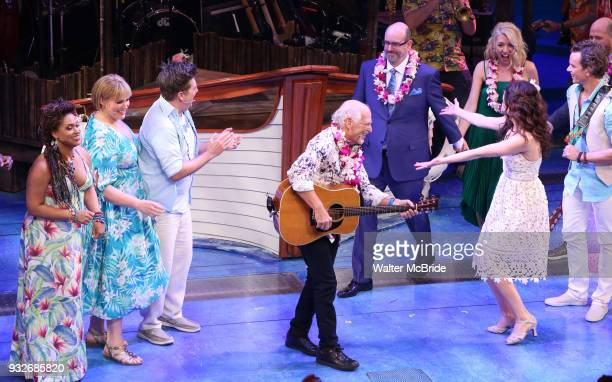 Rema Webb Lisa Howard Eric Peterson Jimmy Buffett and Alison Luff during the the Broadway opening night performance curtain call bows of 'Escape To...