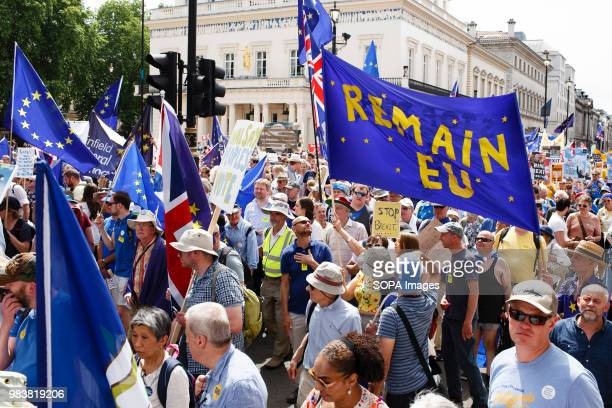 A Remain in EU banner seen during the demonstration ProEU demonstrators in their tens of thousands set off from Pall Mall for the 'March for a...
