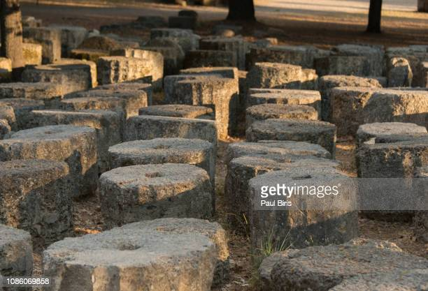 remains at ancient olympia archaeological site in peloponesse, greece - place of burial stock pictures, royalty-free photos & images