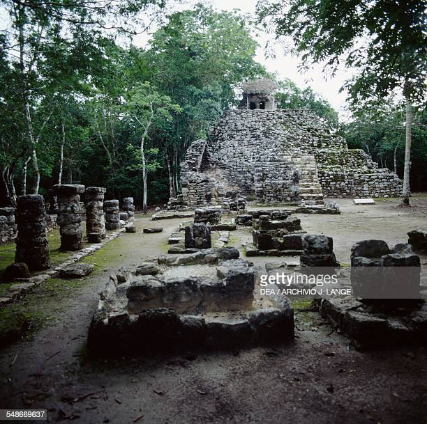 Remains of a building in the square of the pyramid Group of Paintings or Group D Coba Quintana Roo Mexico Mayan civilisation 6th10th century