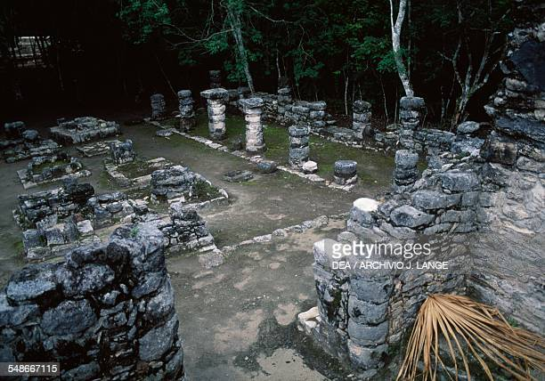 Remains of a building in the square of the pyramid Paintings group or Group D Coba Quintana Roo Mexico Mayan civilisation 6th10th century