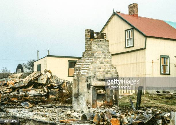 Remains of a building which was burnt out by Argentinian prisoners in Port Stanley during the Falklands War June 1982