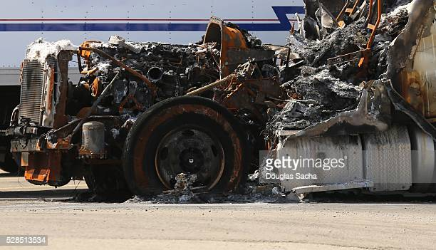 Remains of a burned semi truck