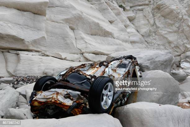 Remains of a car at the foot of Beachy Head