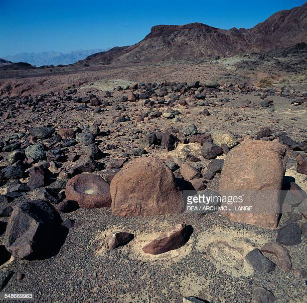 Remains of a Chalcolithic period settlement Timna Valley or Nahal Timna Israel