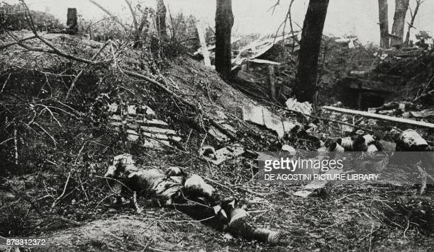 Remains of a German battery in Biaches Battle of Somme France World War I from L'Illustrazione Italiana Year XLIII No 32 August 6 1916