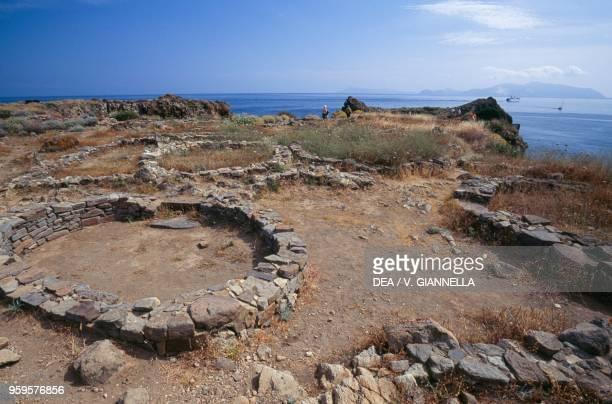 Remains of a prehistoric settlement in Cala Junco, Panarea Island, Aeolian Islands , Sicily, Italy.