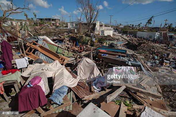 Remains of a school in Port Salute Haiti on October 7 2016 that was destroyed by the hurricane Matthew the most powerful Atlantic storm since 2007...