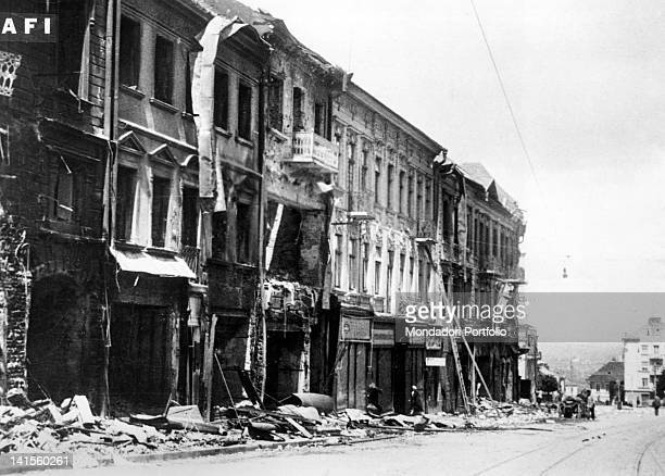 Remains of a street in Cernivtsi as the city is being reoccupied by Romanian troops Cernivtsi July 1941