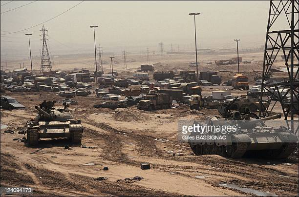 Remains of an Iraqi convoy destroyed by US Air Force on the road from Kuwait city to Basrah in Kuwait , Kuwait on March 02, 1991.