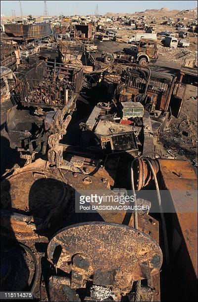 Remains of an Iraqi convoy destroyed by US airforce while fleeing Kuwait on March 02 1991