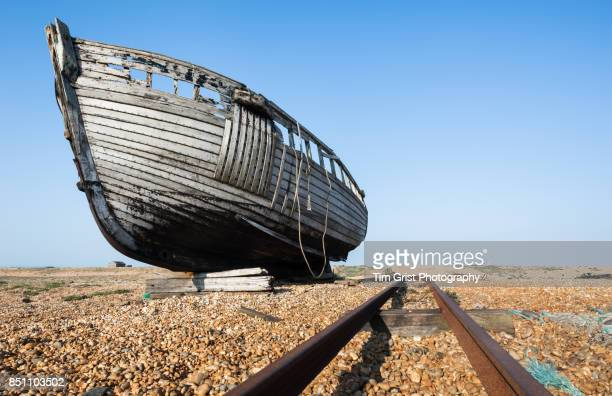 remains of an old wooden fishing boat, dungeness - dungeness stock pictures, royalty-free photos & images