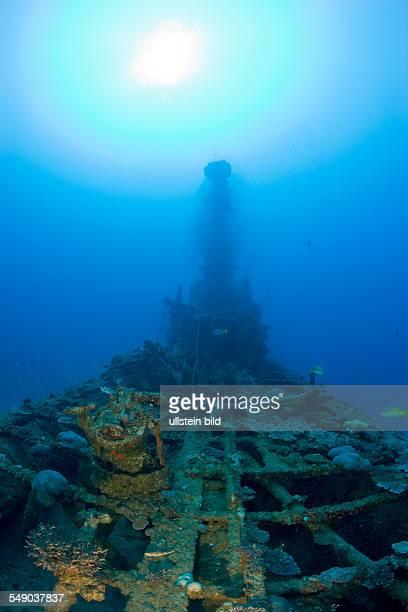 Remains of Anti Aircraft Gun and Tower of USS Apogon Submarine, Marshall Islands, Bikini Atoll, Micronesia, Pacific Ocean