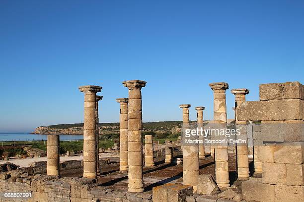 remains of athena temple - tarifa stock photos and pictures