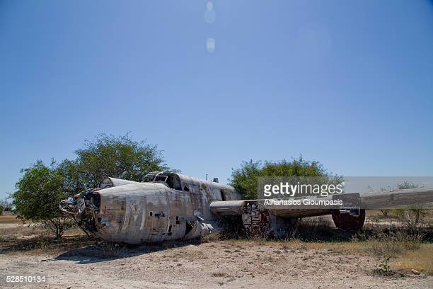 Remains of Avro Shackleton a British long-range maritime patrol aircraft at the abandoned Nicosia International Airport on April 28, 2016 in Nicosia,...