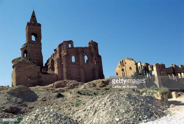 Remains of Belchite Panoramic view of remains of the Spanish Civil War Belchite village Zaragoza province